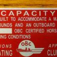 Reproduction Outboard Boating Club Capacity Tag